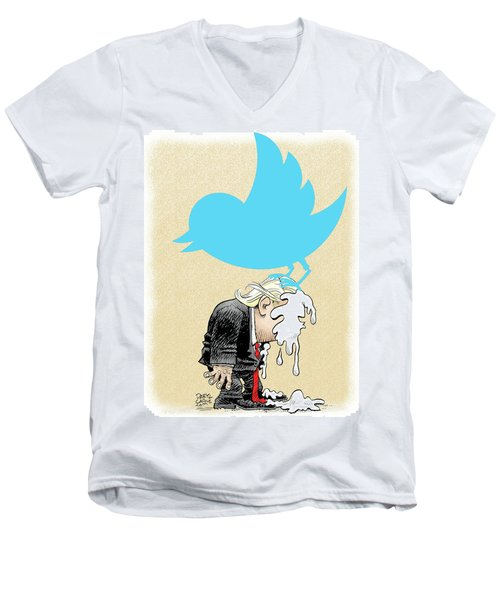 Men's V-Neck T-Shirt featuring the drawing Trump Twitter Poop by Daryl Cagle