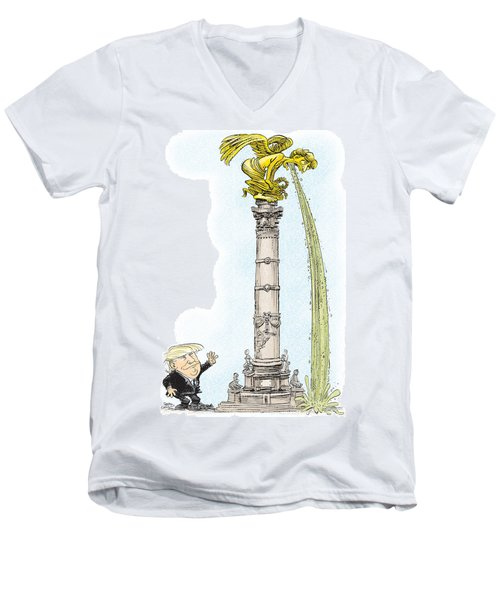 Men's V-Neck T-Shirt featuring the drawing Trump Visits Mexico by Daryl Cagle