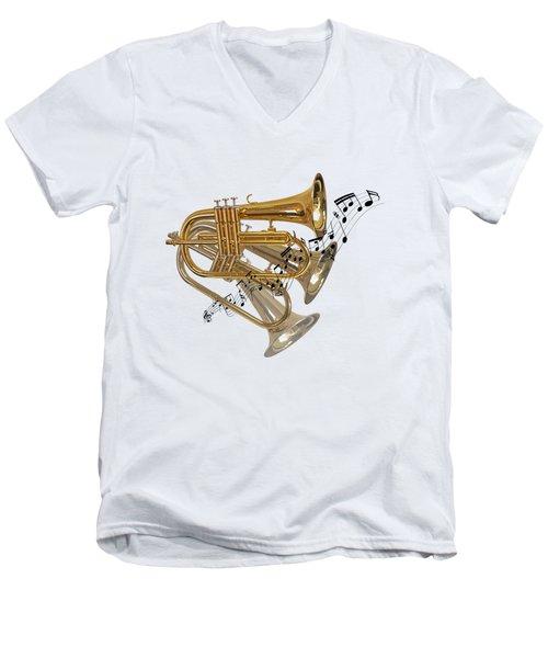Trumpet Fanfare Men's V-Neck T-Shirt by Gill Billington