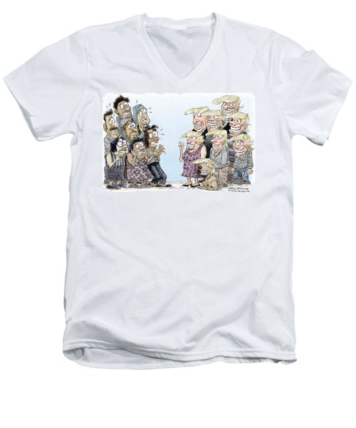 Men's V-Neck T-Shirt featuring the drawing Trumpettes Horror by Daryl Cagle