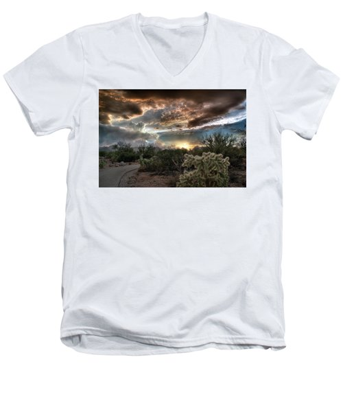 Tucson Mountain Sunset Men's V-Neck T-Shirt by Lynn Geoffroy