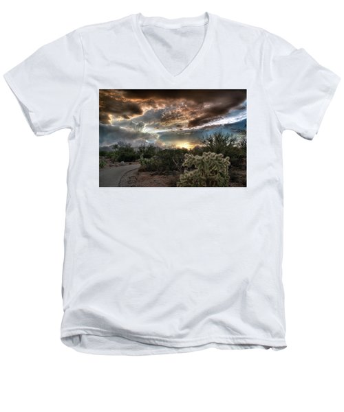 Men's V-Neck T-Shirt featuring the photograph Tucson Mountain Sunset by Lynn Geoffroy