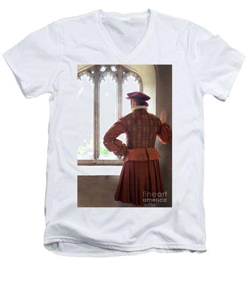 Tudor Man At The Window Men's V-Neck T-Shirt by Lee Avison