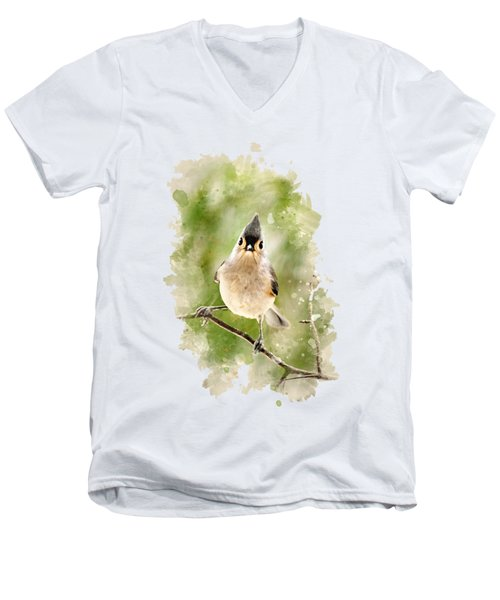 Men's V-Neck T-Shirt featuring the mixed media Tufted Titmouse - Watercolor Art by Christina Rollo