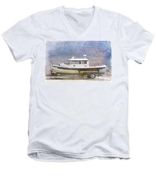 Men's V-Neck T-Shirt featuring the painting Tugboat by Cynthia Powell