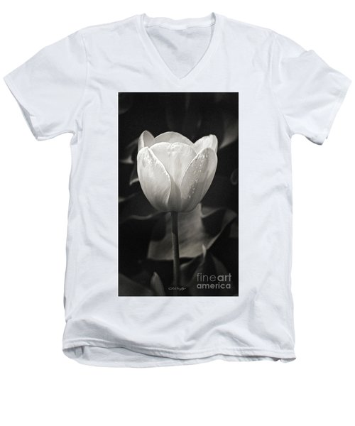 Tulip In Black And White Men's V-Neck T-Shirt