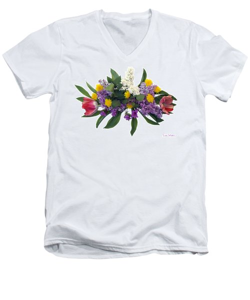 Tulip Lilac And Dandelion Bouquet Men's V-Neck T-Shirt by Lise Winne