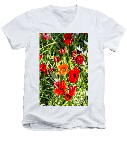 Men's V-Neck T-Shirt featuring the photograph Tulip - The Orange One 03 by Arik Baltinester