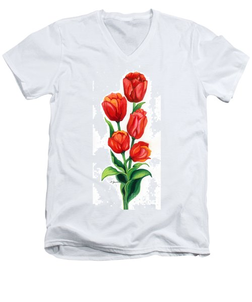 Tulip Time Men's V-Neck T-Shirt by Barbara Jewell