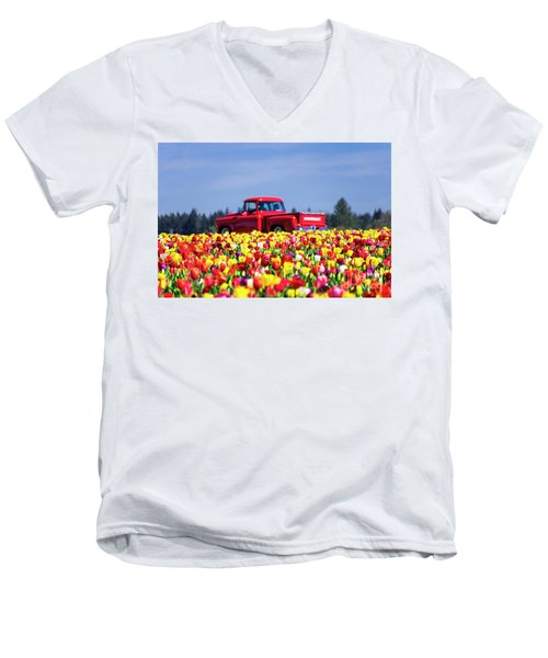 Tulips And Red Chevy Truck Men's V-Neck T-Shirt