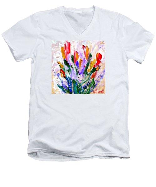 Tulips Men's V-Neck T-Shirt by Fred Wilson