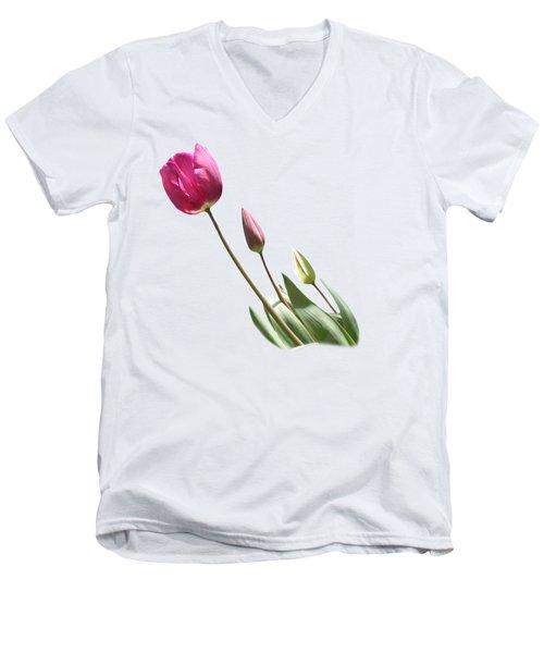 Tulips On Transparent Background Men's V-Neck T-Shirt