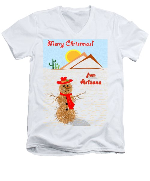 Tumbleweed Snowman Christmas Card Men's V-Neck T-Shirt by Methune Hively