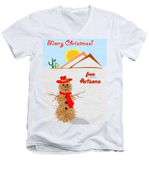 Arizona Tumbleweed Snowman Men's V-Neck T-Shirt