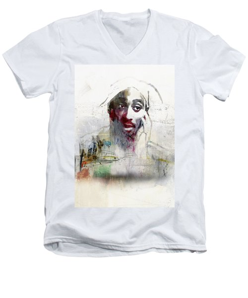 Tupac Graffitti 2656 Men's V-Neck T-Shirt by Jani Heinonen