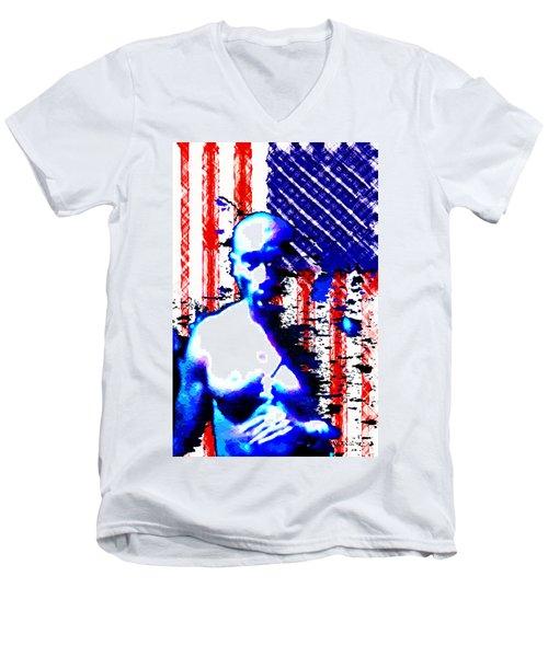 Tupac N America Men's V-Neck T-Shirt