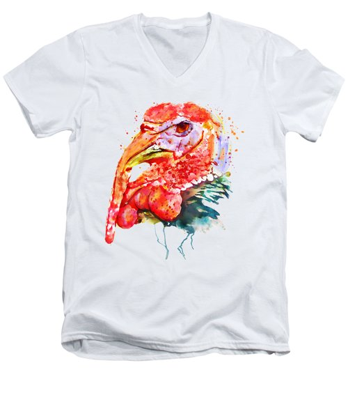 Turkey Head Men's V-Neck T-Shirt by Marian Voicu