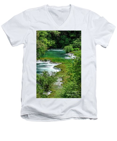 Turqouise Waterfalls Of Skradinski Buk At Krka National Park In Croatia Men's V-Neck T-Shirt