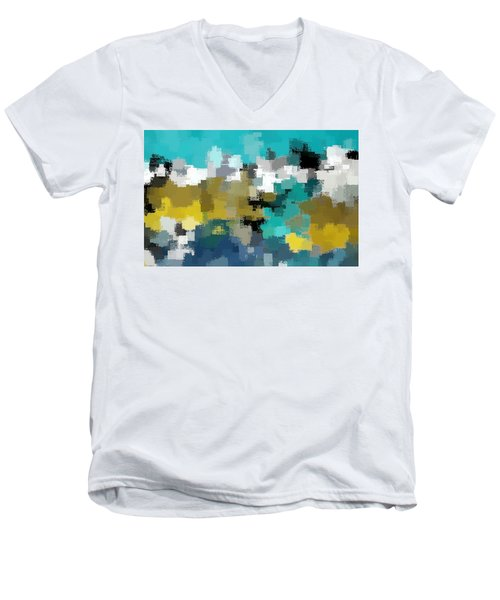 Turquoise And Gold Men's V-Neck T-Shirt