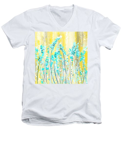 Turquoise And Yellow Men's V-Neck T-Shirt