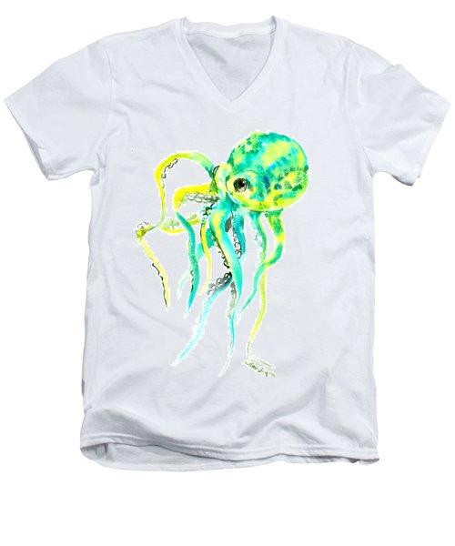 Turquoise Green Octopus Men's V-Neck T-Shirt by Suren Nersisyan