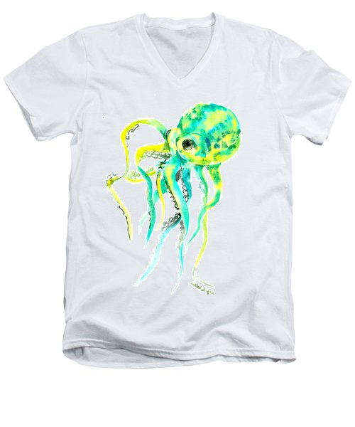Turquoise Green Octopus Men's V-Neck T-Shirt