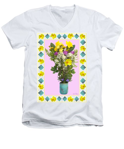 Turquoise Vase With Spring Bouquet Men's V-Neck T-Shirt by Lise Winne