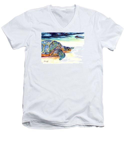 Turtle At Poipu Beach 2 Men's V-Neck T-Shirt by Marionette Taboniar
