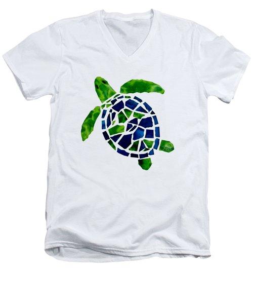 Turtle Mosaic Cut Out Men's V-Neck T-Shirt