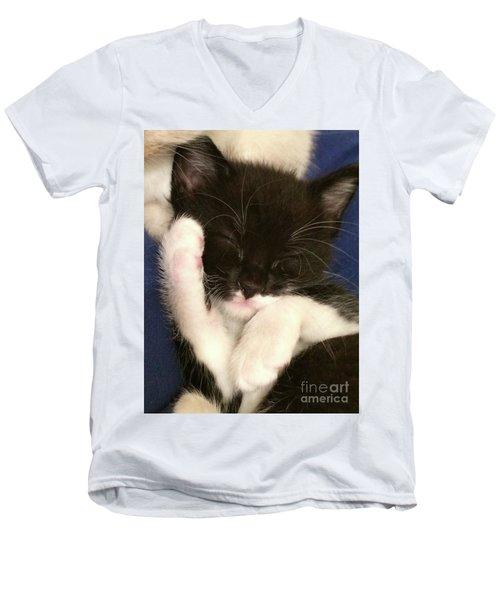 Tuxedo Kitten Snoozing Men's V-Neck T-Shirt