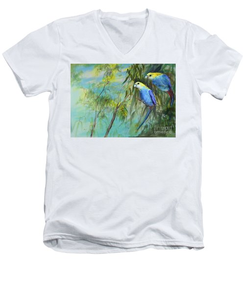 Men's V-Neck T-Shirt featuring the painting Two Pale-faced Rosellas by Ryn Shell