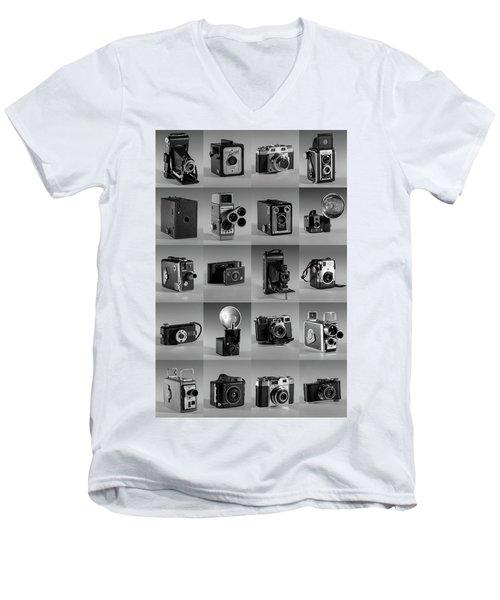 Twenty Old Cameras - Black And White Men's V-Neck T-Shirt