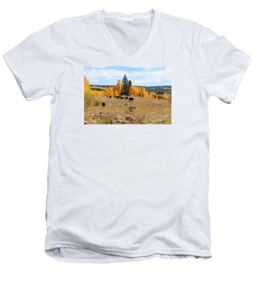 Twilight Fall Mountain Range In Colorado Men's V-Neck T-Shirt
