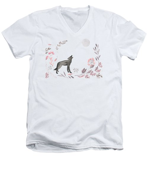 Twilight Wolf Men's V-Neck T-Shirt by Amanda Lakey
