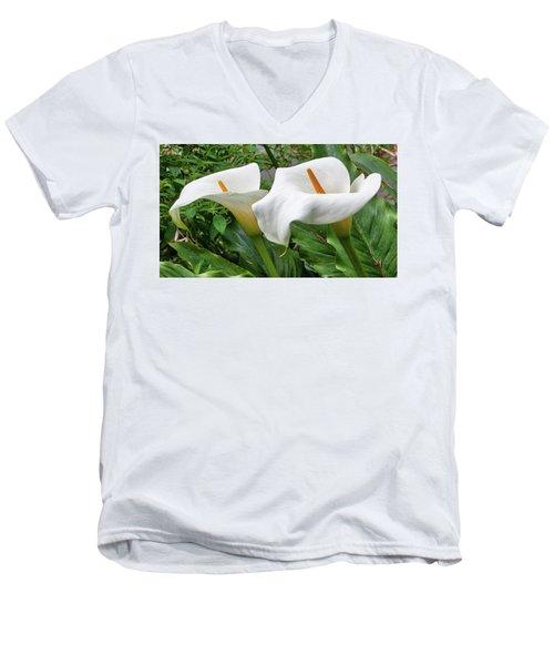 Twin Calla Lilies Men's V-Neck T-Shirt