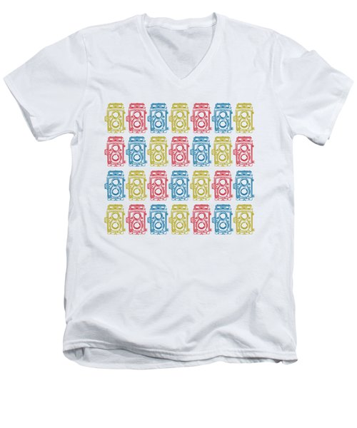Men's V-Neck T-Shirt featuring the drawing Twin Lens Camera Pattern by Setsiri Silapasuwanchai