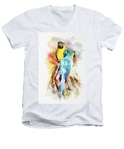 Twin Parrots Men's V-Neck T-Shirt