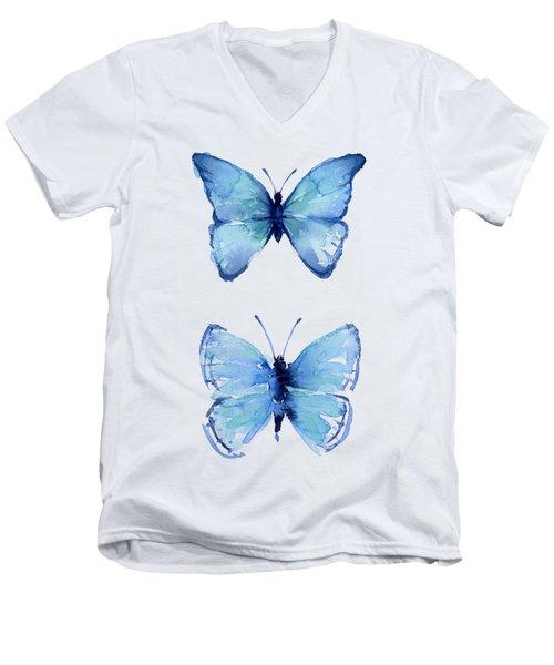 Two Blue Butterflies Watercolor Men's V-Neck T-Shirt