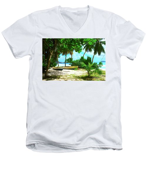 Two Boats On Tropical Beach Men's V-Neck T-Shirt