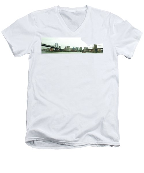 Men's V-Neck T-Shirt featuring the photograph Two Bridges by Robert Knight