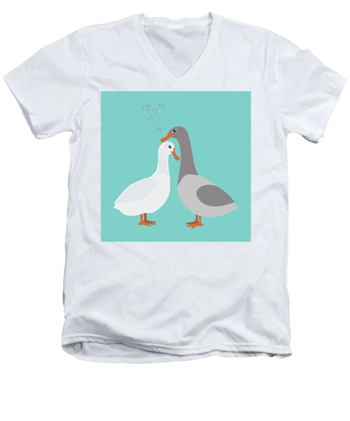 Two Ducks In Love Men's V-Neck T-Shirt