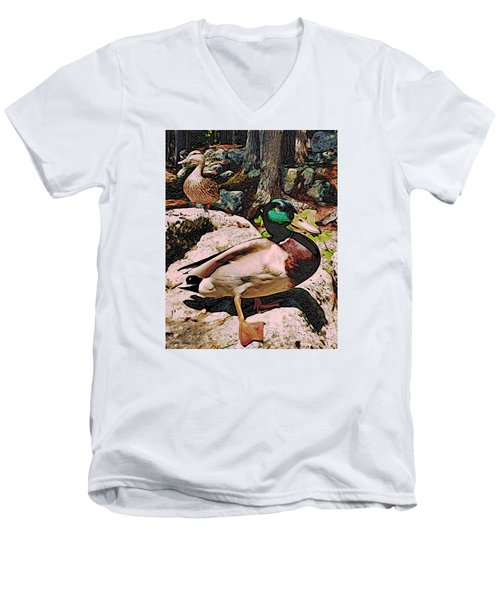 Men's V-Neck T-Shirt featuring the photograph Ducks -dynamic Duo by Kathy Kelly