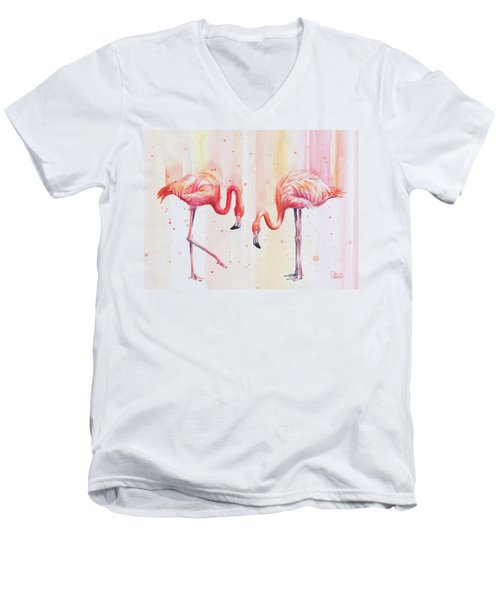 Two Flamingos Watercolor Men's V-Neck T-Shirt