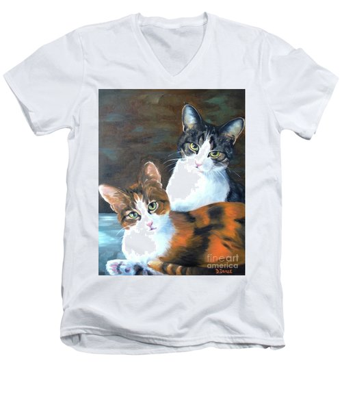 Men's V-Neck T-Shirt featuring the painting Two Friends by Diane Daigle