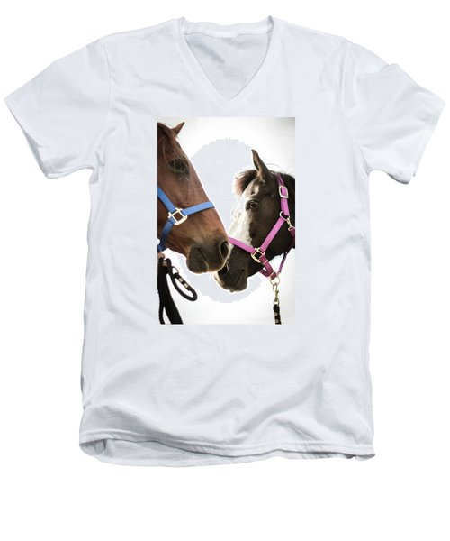 Two Horses Nose To Nose In Color Men's V-Neck T-Shirt by Kelly Hazel