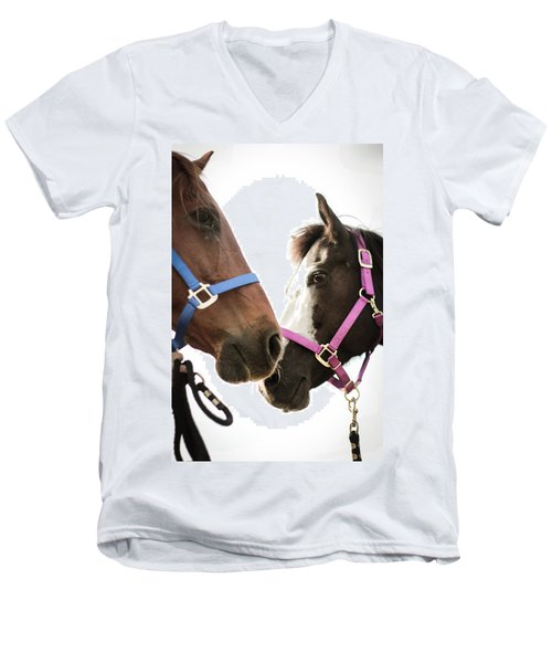 Two Horses Nose To Nose In Color Men's V-Neck T-Shirt