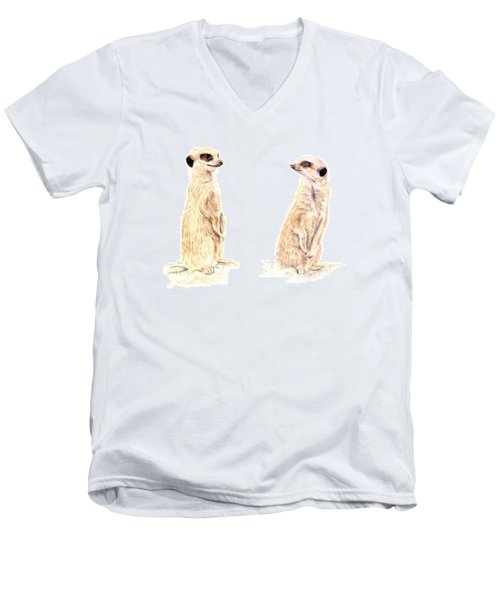 Men's V-Neck T-Shirt featuring the mixed media Two Meerkats by Elizabeth Lock