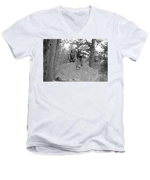 Two Men On A Boulder In The American West, 1972 Men's V-Neck T-Shirt