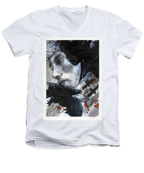 Men's V-Neck T-Shirt featuring the painting Two Ravens Bringing Blood To The Skies  by Rene Capone