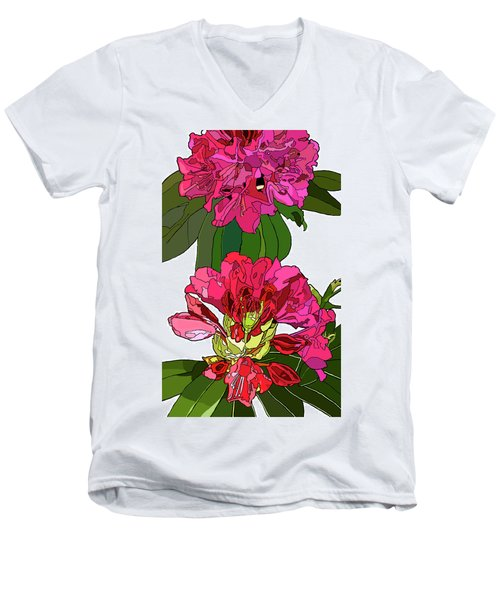 Two Rhododendrons Men's V-Neck T-Shirt by Jamie Downs